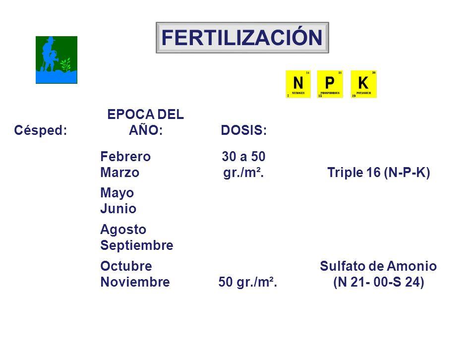 Césped: EPOCA DEL AÑO:DOSIS: Febrero Marzo 30 a 50 gr./m².Triple 16 (N-P-K) Mayo Junio Agosto Septiembre Octubre Noviembre 50 gr./m². Sulfato de Amoni