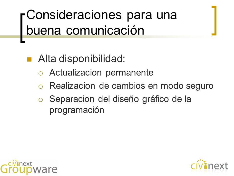 Consideraciones para una buena comunicación Alta disponibilidad: Actualizacion permanente Realizacion de cambios en modo seguro Separacion del diseño