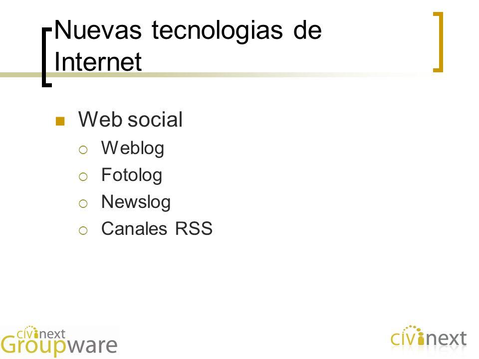 Nuevas tecnologias de Internet Web social Weblog Fotolog Newslog Canales RSS
