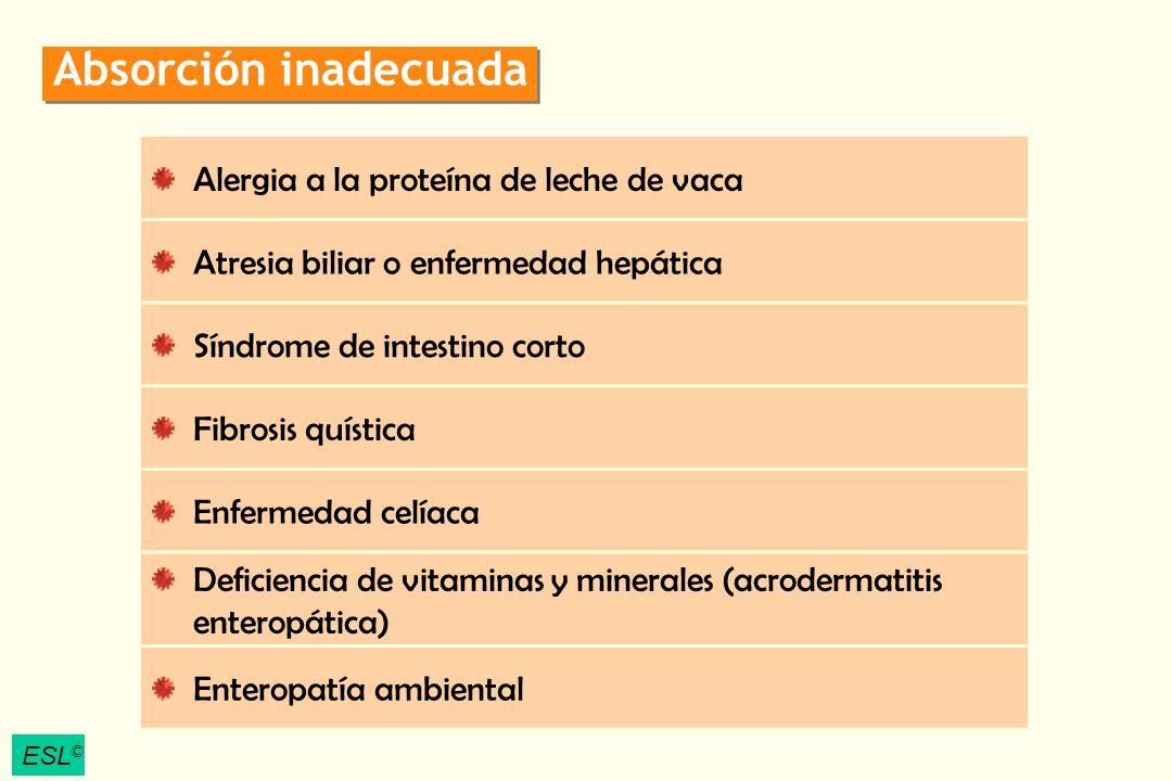 ESL © Absorción inadecuada Alergia a la proteína de leche de vaca Atresia biliar o enfermedad hepática Síndrome de intestino corto Fibrosis quística E