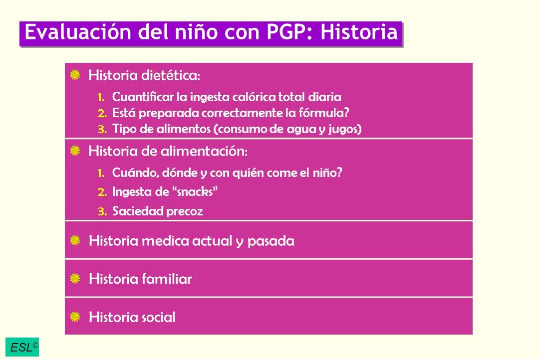 ESL © Evaluación del niño con PGP: Historia Historia dietética: 1.Cuantificar la ingesta calórica total diaria 2.Está preparada correctamente la fórmu