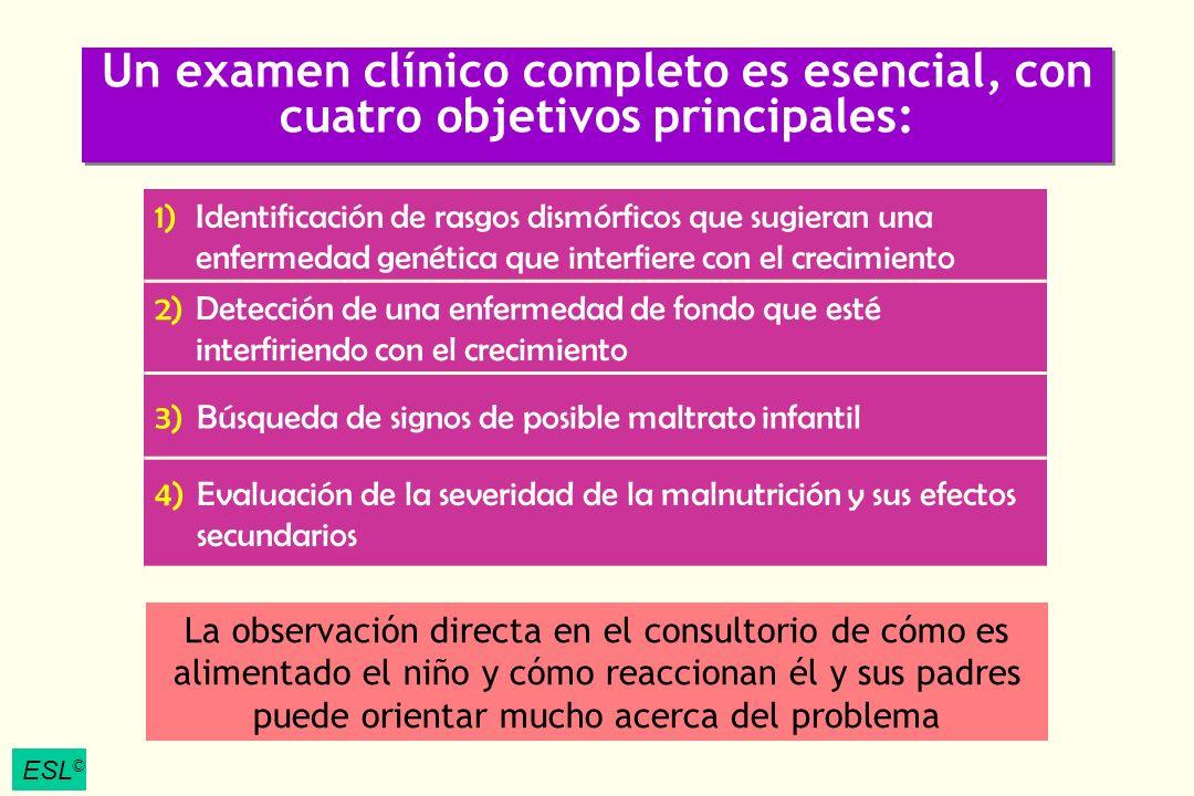 ESL © Un examen clínico completo es esencial, con cuatro objetivos principales: 1)Identificación de rasgos dismórficos que sugieran una enfermedad gen