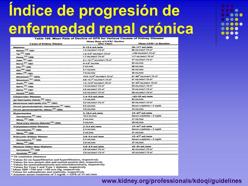 Índice de progresión de enfermedad renal crónica www.kidney.org/professionals/kdoqi/guidelines
