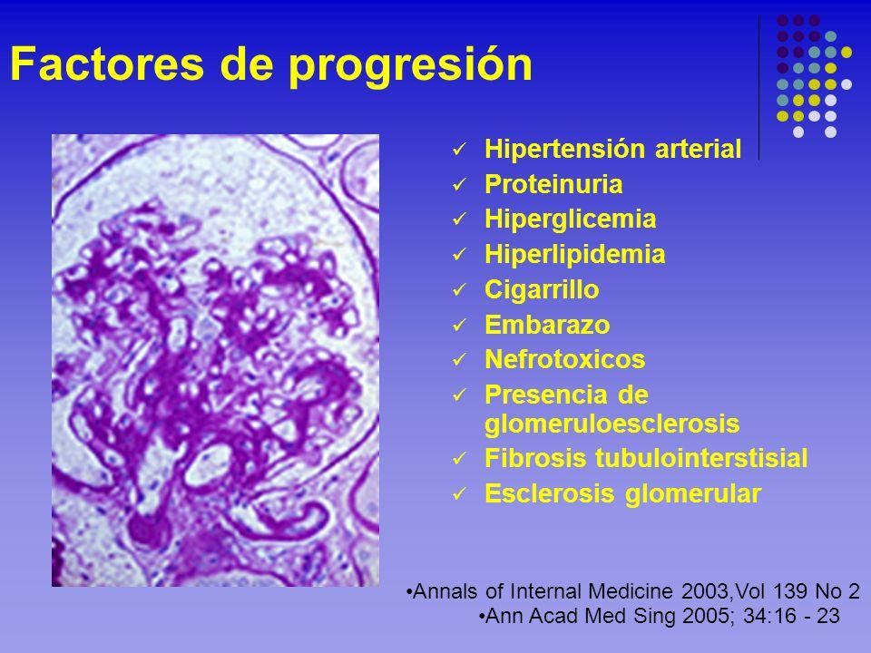 Factores de progresión Hipertensión arterial Proteinuria Hiperglicemia Hiperlipidemia Cigarrillo Embarazo Nefrotoxicos Presencia de glomeruloesclerosi
