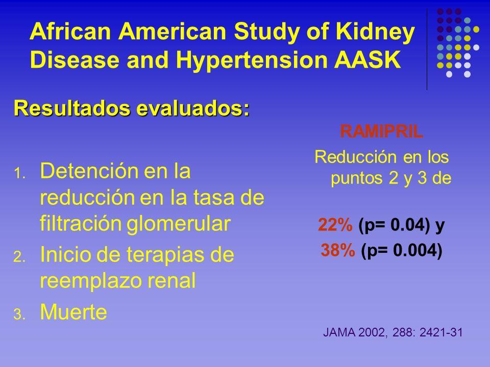 African American Study of Kidney Disease and Hypertension AASK Resultados evaluados: 1. Detención en la reducción en la tasa de filtración glomerular