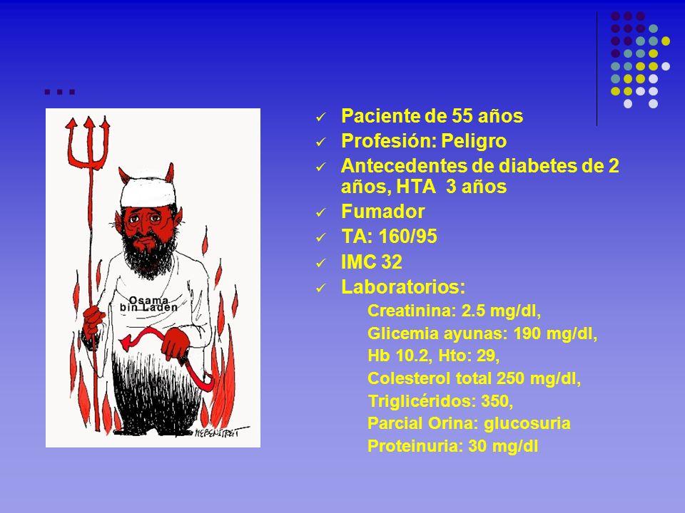 … Paciente de 55 años Profesión: Peligro Antecedentes de diabetes de 2 años, HTA 3 años Fumador TA: 160/95 IMC 32 Laboratorios: Creatinina: 2.5 mg/dl,