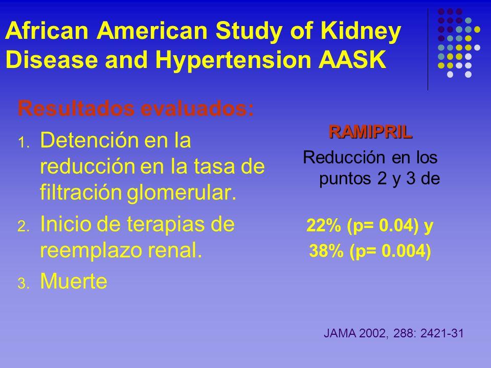 African American Study of Kidney Disease and Hypertension AASK Resultados evaluados: 1. Detención en la reducción en la tasa de filtración glomerular.