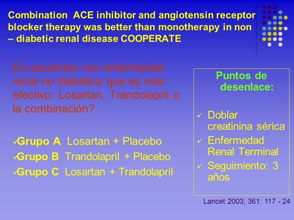 Combination ACE inhibitor and angiotensin receptor blocker therapy was better than monotherapy in non – diabetic renal disease COOPERATE En pacientes