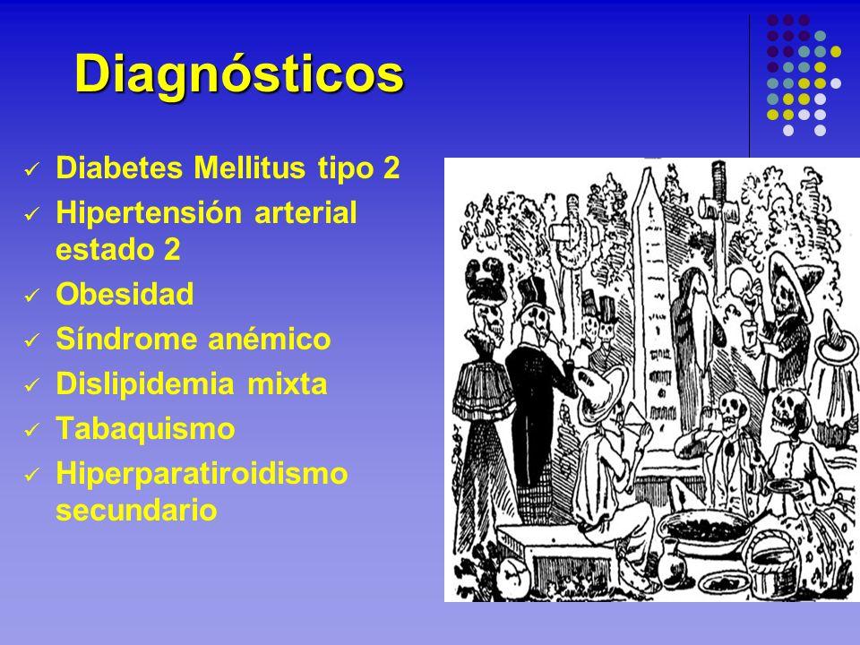 Diabetes Mellitus tipo 2 Hipertensión arterial estado 2 Obesidad Síndrome anémico Dislipidemia mixta Tabaquismo Hiperparatiroidismo secundario Diagnós