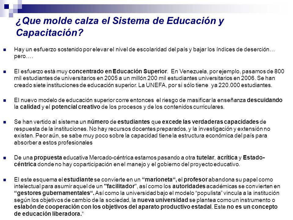 ¿Que molde calza el Sistema de Educación y Capacitación? Hay un esfuerzo sostenido por elevar el nivel de escolaridad del país y bajar los índices de