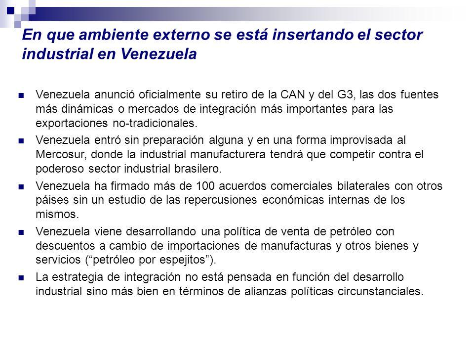 En que ambiente externo se está insertando el sector industrial en Venezuela Venezuela anunció oficialmente su retiro de la CAN y del G3, las dos fuen