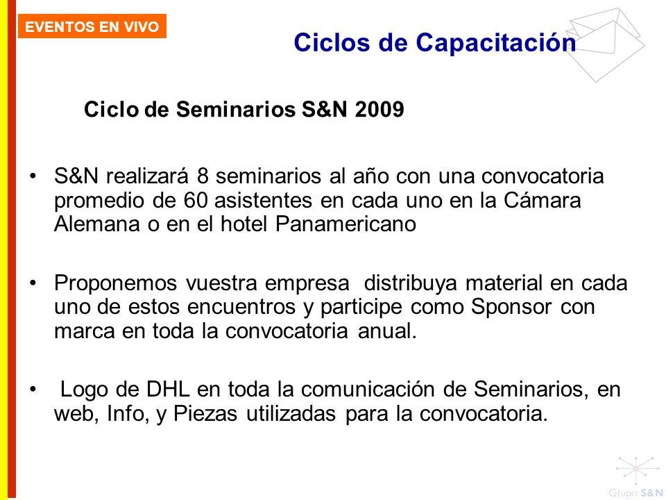 Ciclos de Capacitación EVENTOS EN VIVO Ciclo de Seminarios S&N 2009 S&N realizará 8 seminarios al año con una convocatoria promedio de 60 asistentes e