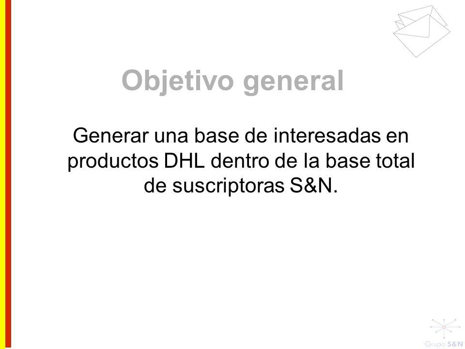 Objetivo general Generar una base de interesadas en productos DHL dentro de la base total de suscriptoras S&N.