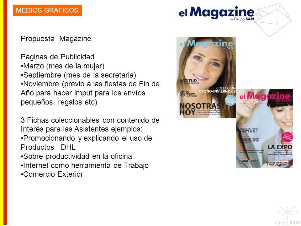 Propuesta Magazine Páginas de Publicidad Marzo (mes de la mujer) Septiembre (mes de la secretaria) Noviembre (previo a las fiestas de Fin de Año para