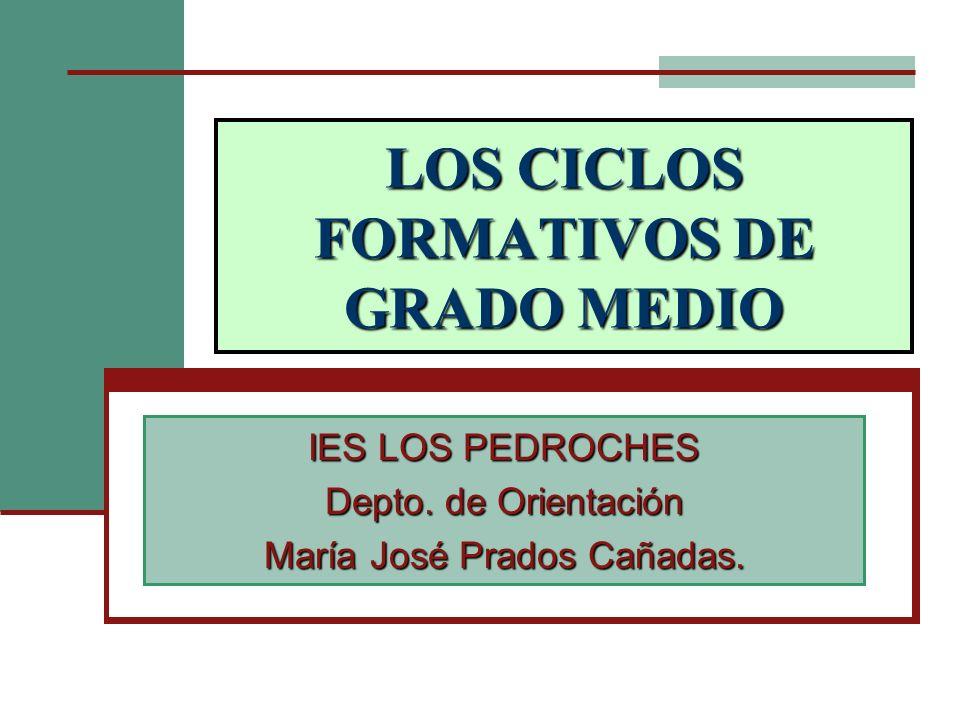 LOS CICLOS FORMATIVOS DE GRADO MEDIO IES LOS PEDROCHES Depto. de Orientación María José Prados Cañadas.