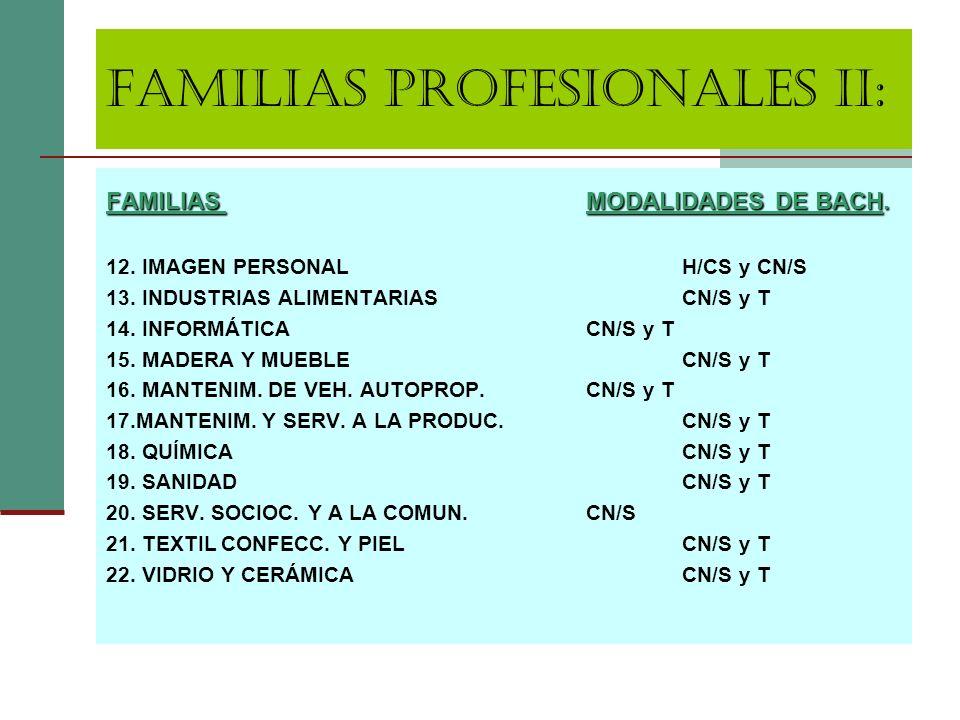 FAMILIAS PROFESIONALES II: FAMILIASMODALIDADES DE BACH. 12. IMAGEN PERSONALH/CS y CN/S 13. INDUSTRIAS ALIMENTARIASCN/S y T 14. INFORMÁTICACN/S y T 15.