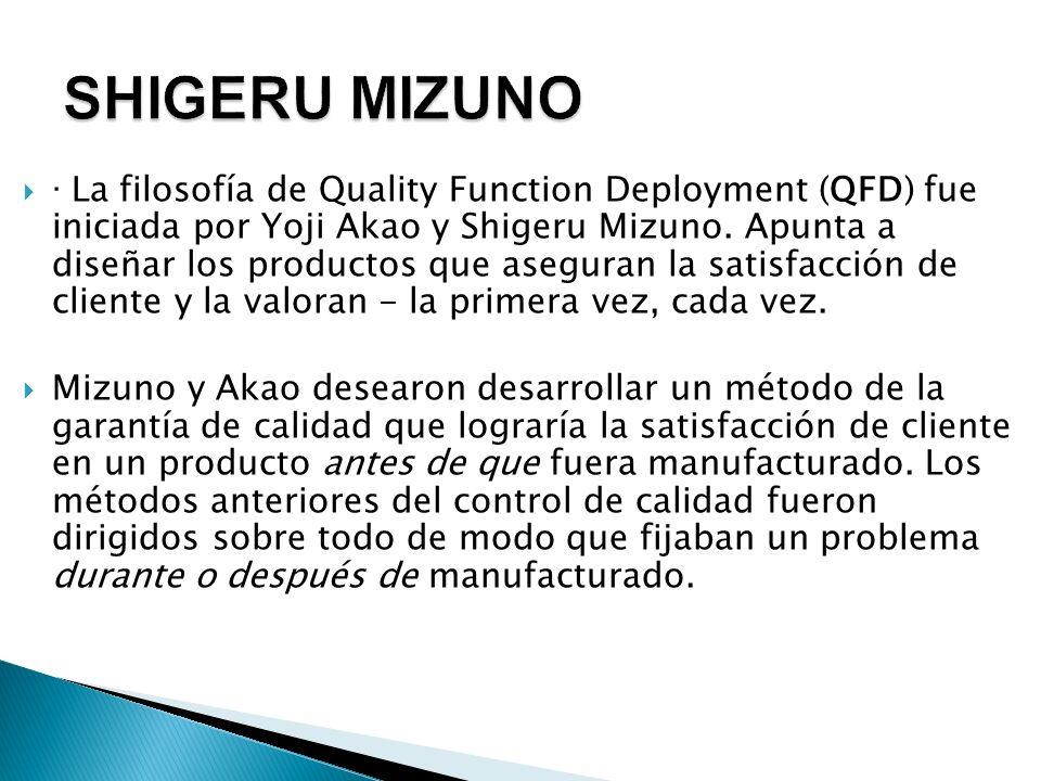 · La filosofía de Quality Function Deployment (QFD) fue iniciada por Yoji Akao y Shigeru Mizuno. Apunta a diseñar los productos que aseguran la satisf