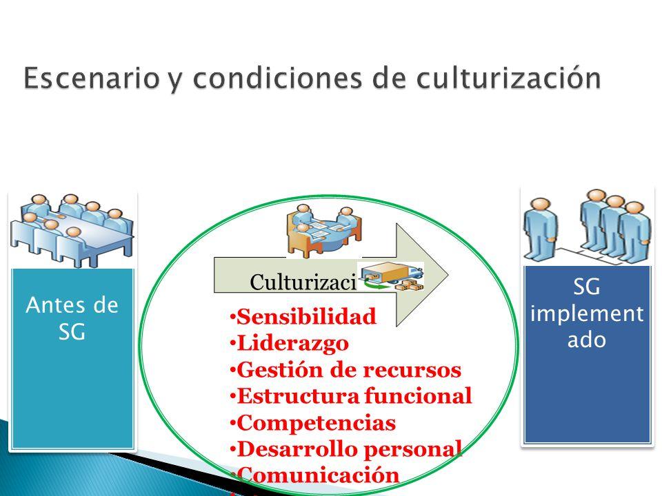 Antes de SG SG implement ado SG implement ado Culturización Sensibilidad Liderazgo Gestión de recursos Estructura funcional Competencias Desarrollo pe