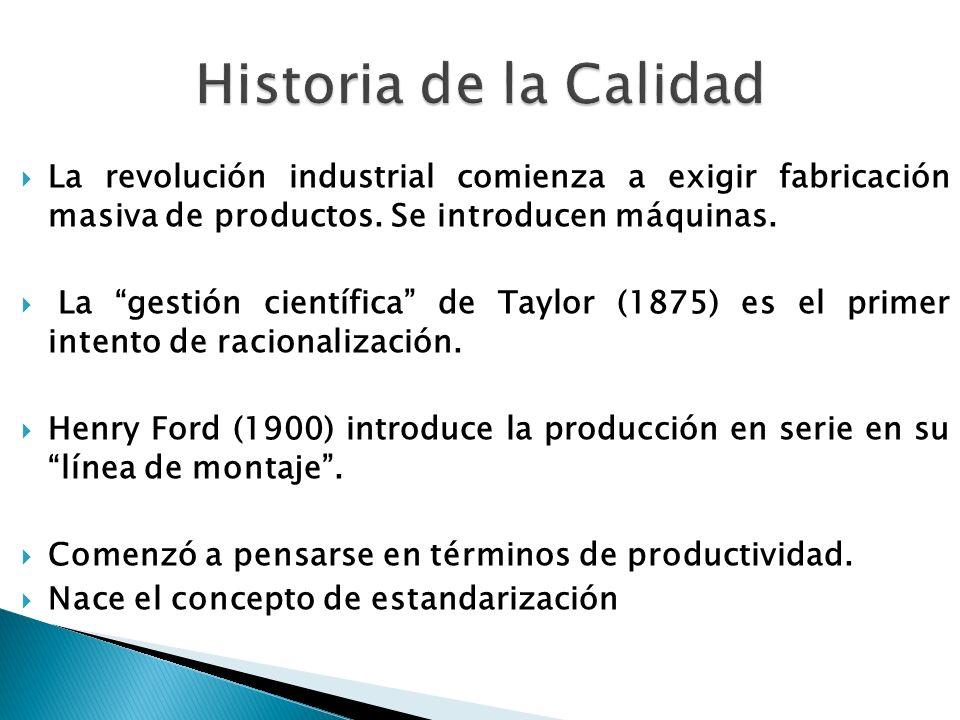 La revolución industrial comienza a exigir fabricación masiva de productos. Se introducen máquinas. La gestión científica de Taylor (1875) es el prime