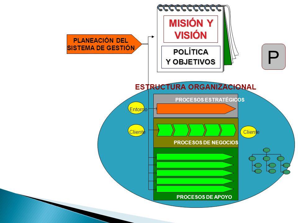 ESTRUCTURA ORGANIZACIONAL Entorno Cliente PROCESOS ESTRATÉGICOS PROCESOS DE NEGOCIOS PROCESOS DE APOYO POLÍTICA Y OBJETIVOS MISIÓN Y VISIÓN PLANEACIÓN