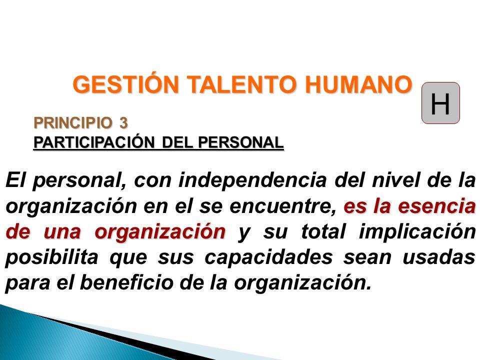 PRINCIPIO 3 PARTICIPACIÓN DEL PERSONAL es la esencia de una organización El personal, con independencia del nivel de la organización en el se encuentr