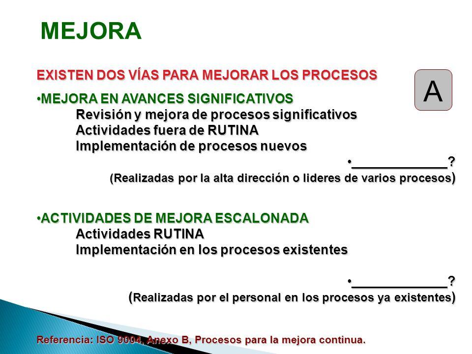 EXISTEN DOS VÍAS PARA MEJORAR LOS PROCESOS MEJORA EN AVANCES SIGNIFICATIVOSMEJORA EN AVANCES SIGNIFICATIVOS Revisión y mejora de procesos significativ