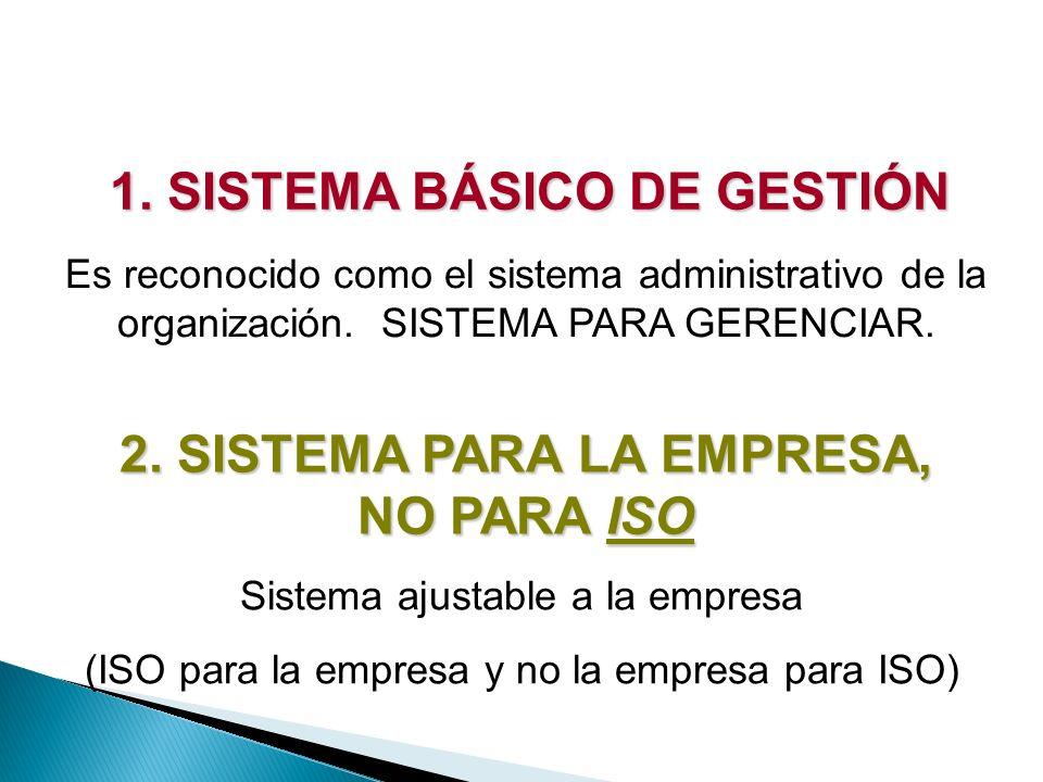 1. SISTEMA BÁSICO DE GESTIÓN Es reconocido como el sistema administrativo de la organización. SISTEMA PARA GERENCIAR. 2. SISTEMA PARA LA EMPRESA, NO P