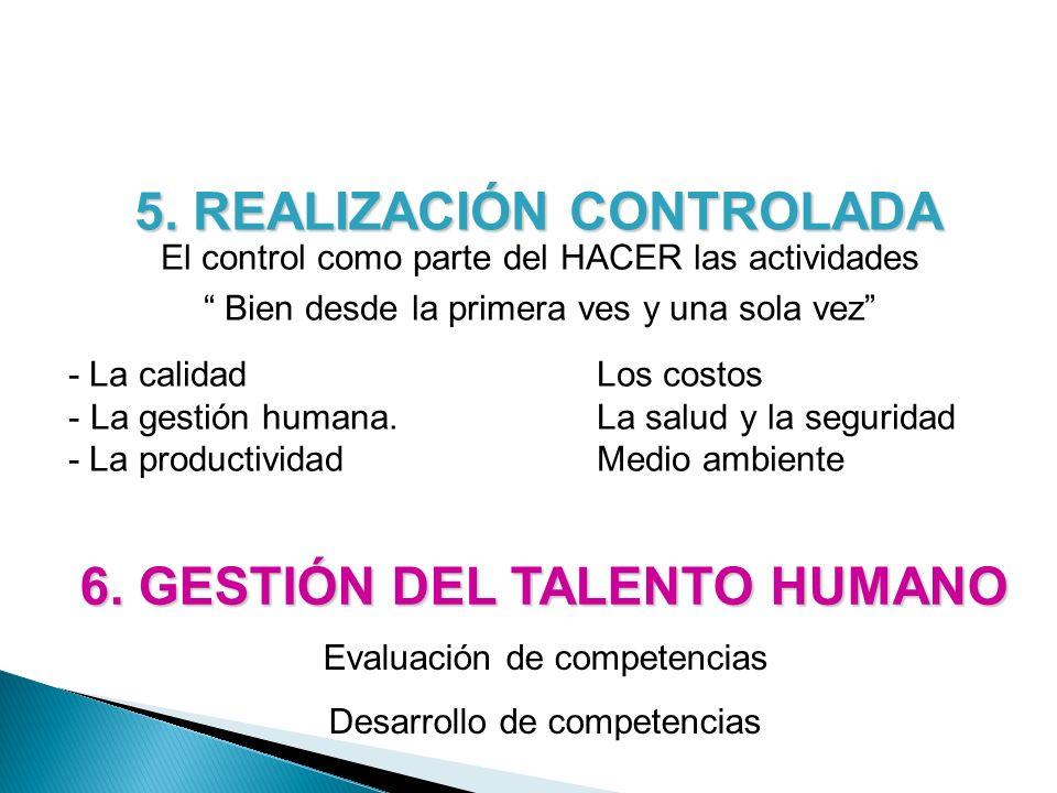 6. GESTIÓN DEL TALENTO HUMANO Evaluación de competencias Desarrollo de competencias 5. REALIZACIÓN CONTROLADA El control como parte del HACER las acti