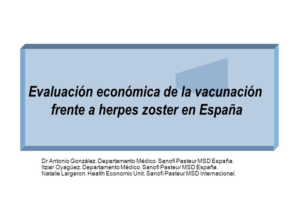 Evaluación económica de la vacunación frente a herpes zoster en España Dr Antonio González. Departamento Médico. Sanofi Pasteur MSD España. Itziar Oya
