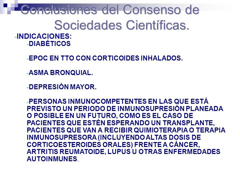 - INDICACIONES: - DIABÉTICOS - EPOC EN TTO CON CORTICOIDES INHALADOS. - ASMA BRONQUIAL. - DEPRESIÓN MAYOR. - PERSONAS INMUNOCOMPETENTES EN LAS QUE EST