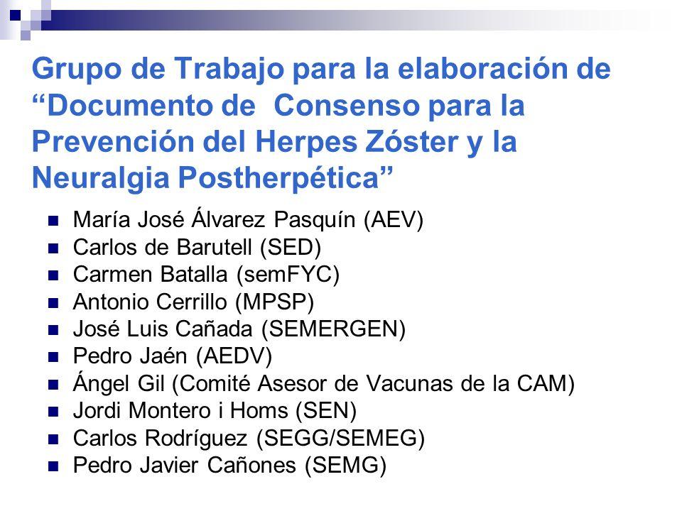 Grupo de Trabajo para la elaboración de Documento de Consenso para la Prevención del Herpes Zóster y la Neuralgia Postherpética María José Álvarez Pas