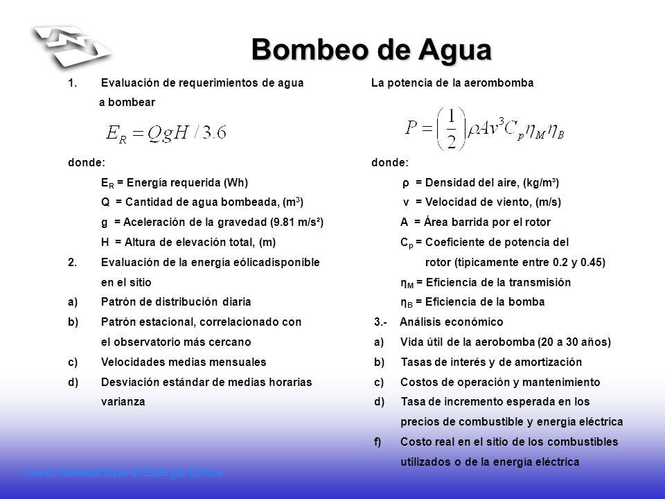 Curso Introductorio de Energía Eólica Bombeo de Agua 1.Evaluación de requerimientos de agua La potencia de la aerombomba a bombear donde: E R = Energí