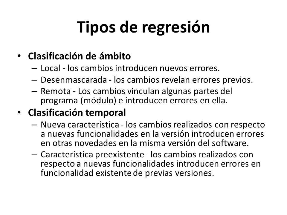 Tipos de regresión Clasificación de ámbito – Local - los cambios introducen nuevos errores. – Desenmascarada - los cambios revelan errores previos. –