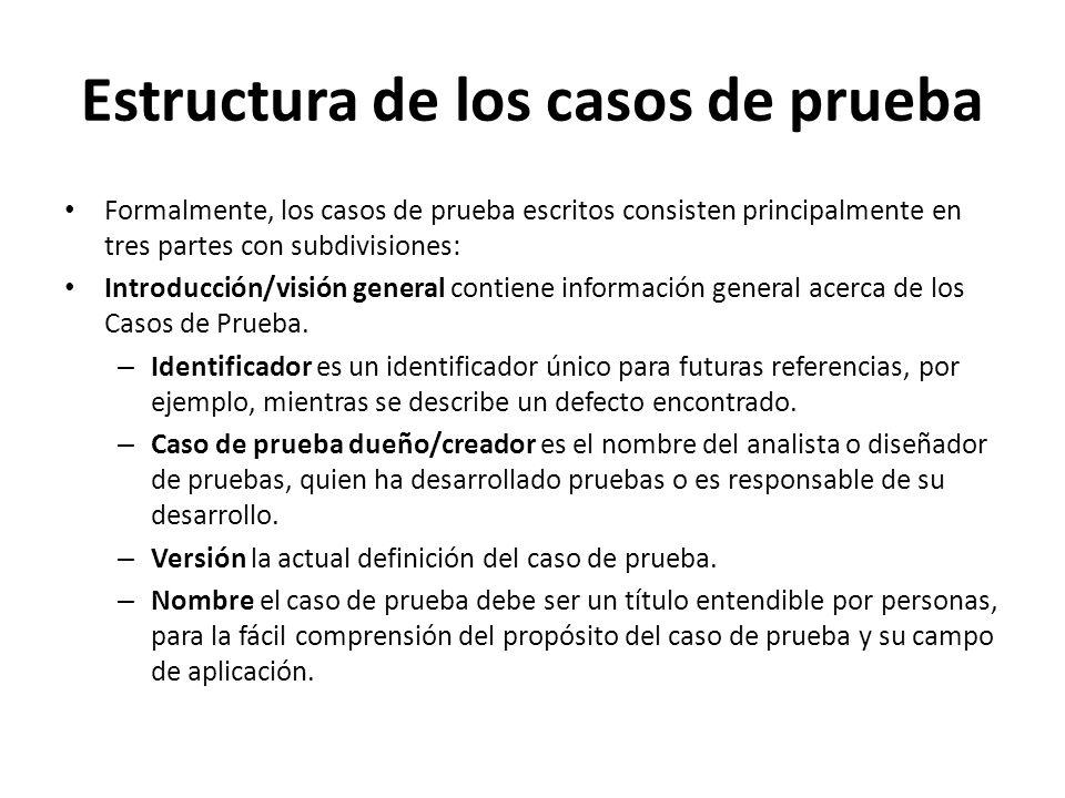 Estructura de los casos de prueba Formalmente, los casos de prueba escritos consisten principalmente en tres partes con subdivisiones: Introducción/vi