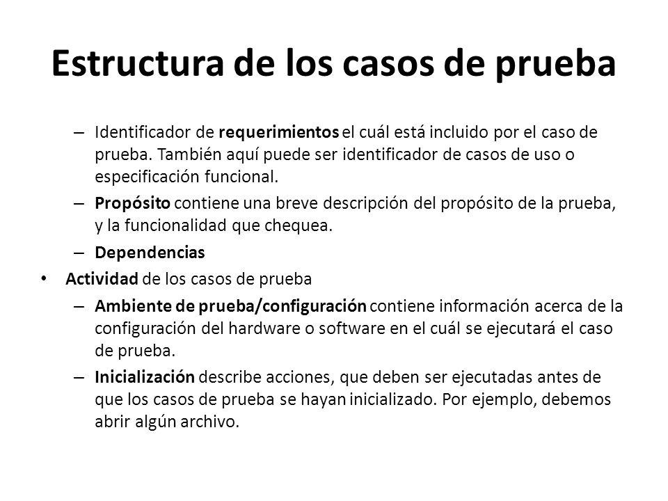 Estructura de los casos de prueba – Identificador de requerimientos el cuál está incluido por el caso de prueba. También aquí puede ser identificador