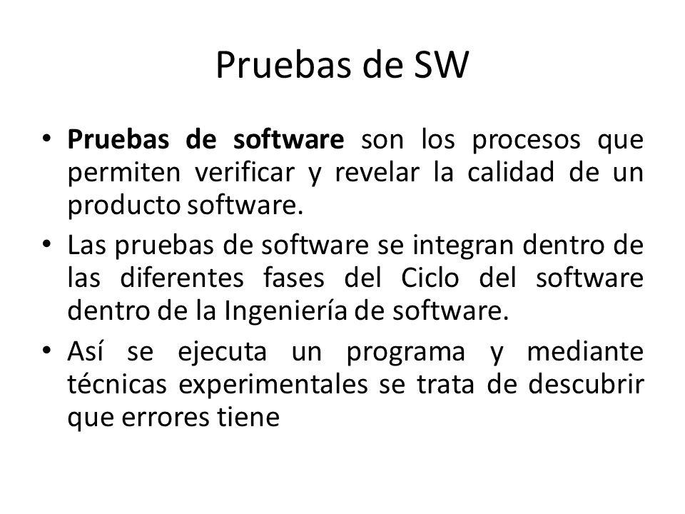 Pruebas de SW Pruebas de software son los procesos que permiten verificar y revelar la calidad de un producto software. Las pruebas de software se int