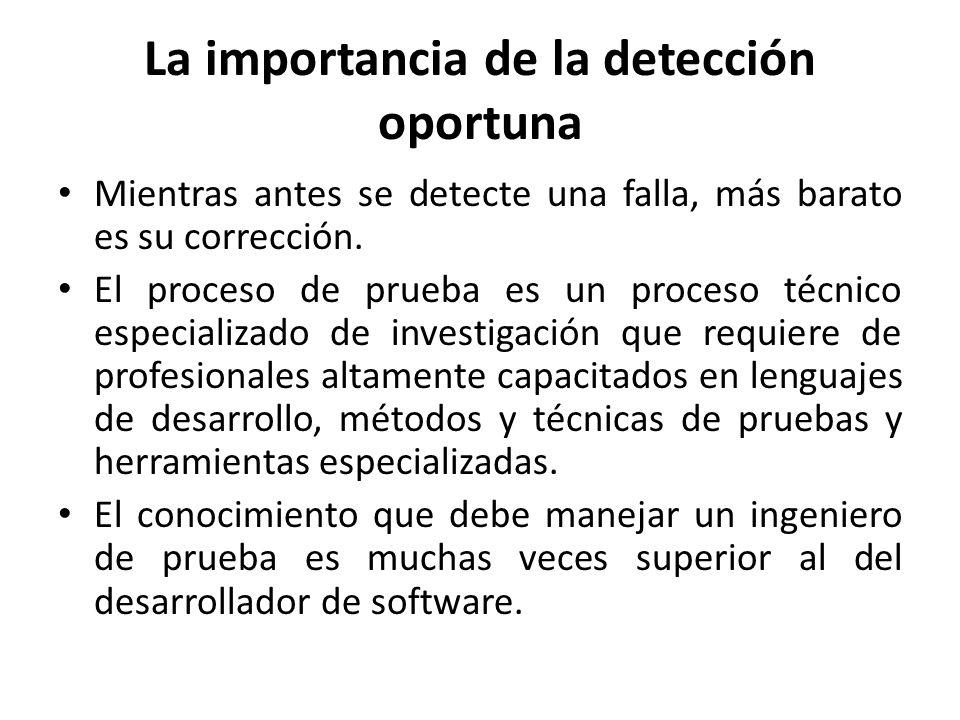 La importancia de la detección oportuna Mientras antes se detecte una falla, más barato es su corrección. El proceso de prueba es un proceso técnico e