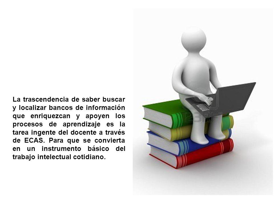 La trascendencia de saber buscar y localizar bancos de información que enriquezcan y apoyen los procesos de aprendizaje es la tarea ingente del docent