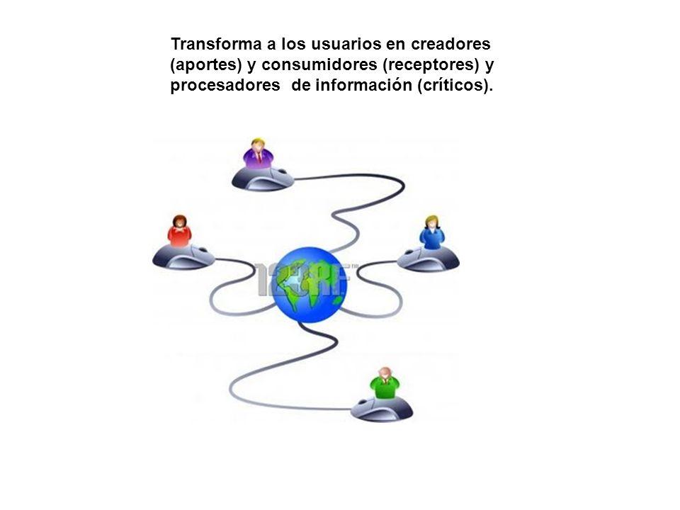 Transforma a los usuarios en creadores (aportes) y consumidores (receptores) y procesadores de información (críticos).