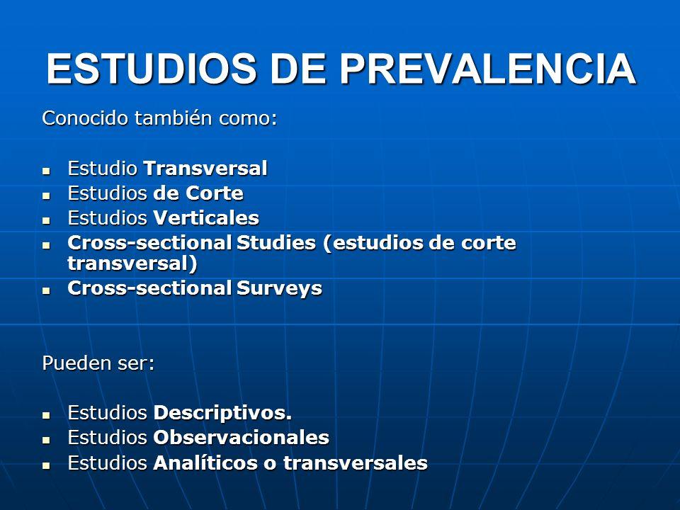 Conocido también como: Estudio Transversal Estudio Transversal Estudios de Corte Estudios de Corte Estudios Verticales Estudios Verticales Cross-secti