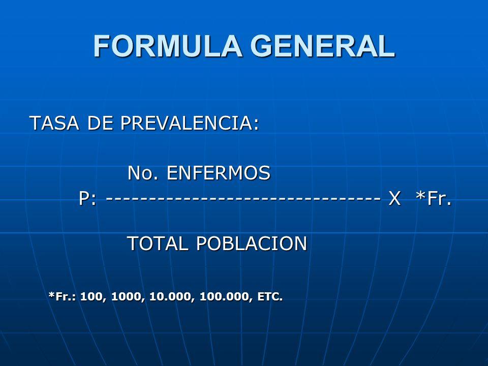 FORMULA GENERAL TASA DE PREVALENCIA: No. ENFERMOS P: -------------------------------- X *Fr. TOTAL POBLACION *Fr.: 100, 1000, 10.000, 100.000, ETC.