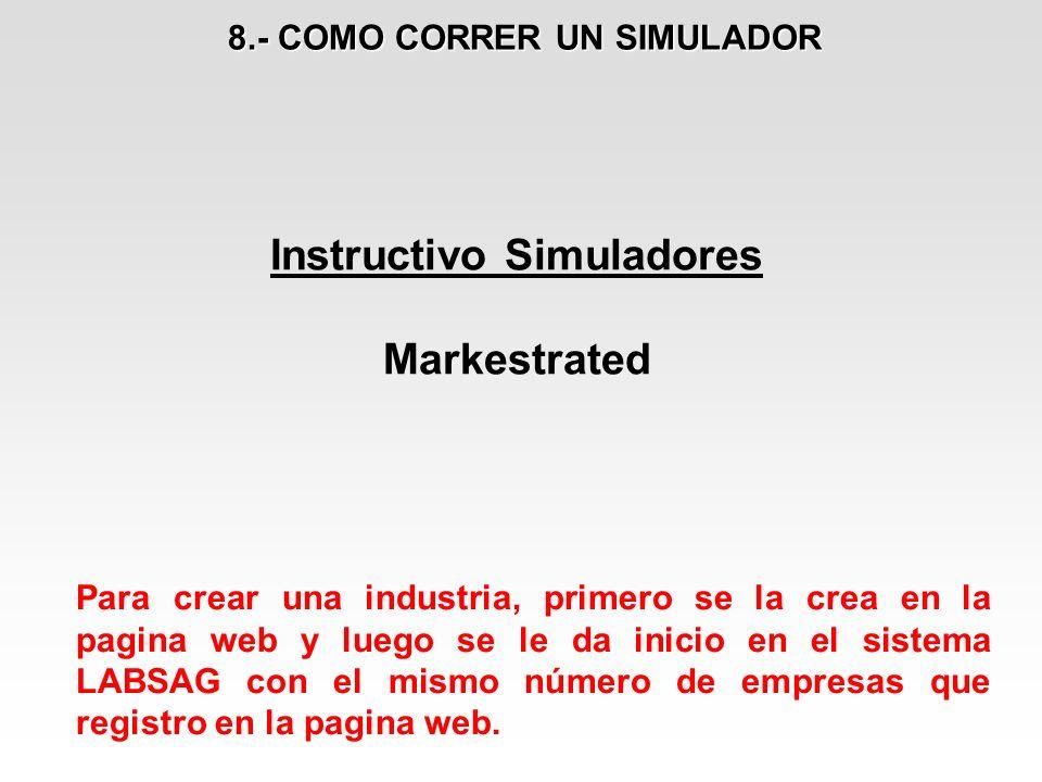 8.- COMO CORRER UN SIMULADOR Instructivo Simuladores Markestrated Para crear una industria, primero se la crea en la pagina web y luego se le da inici