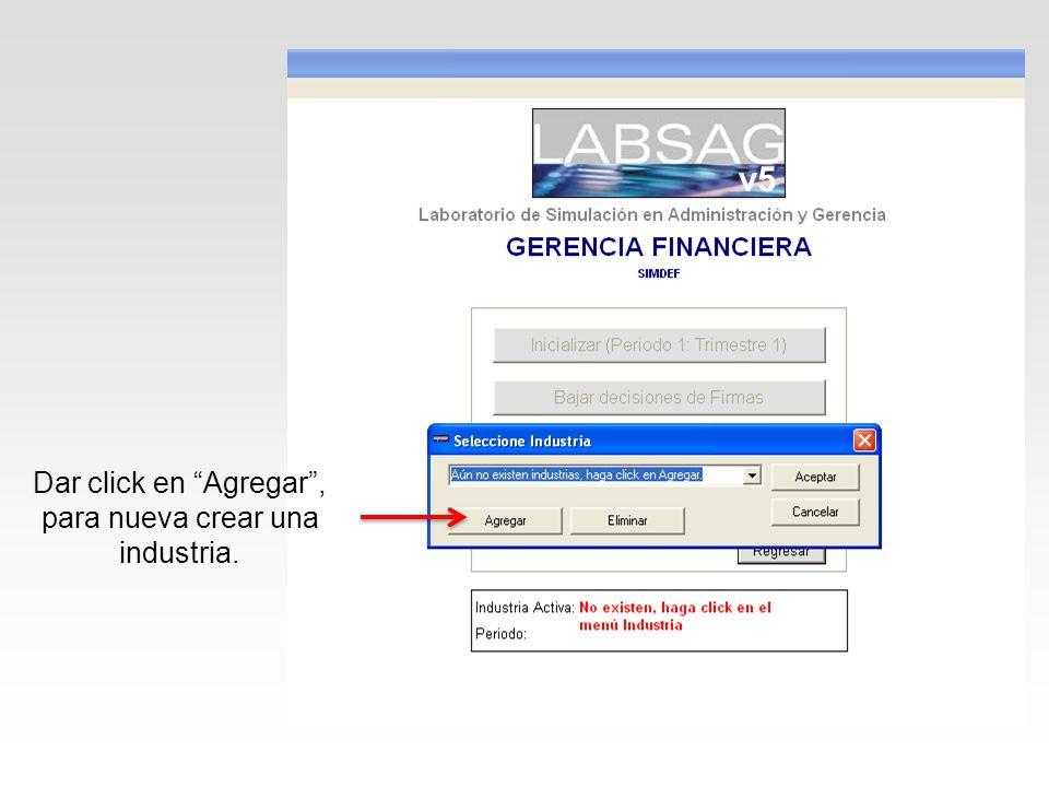 Dar click en Agregar, para nueva crear una industria. v5