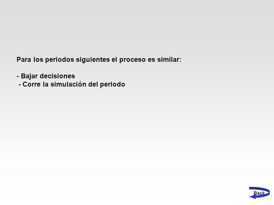 Para los periodos siguientes el proceso es similar: - Bajar decisiones - Corre la simulación del periodo Back
