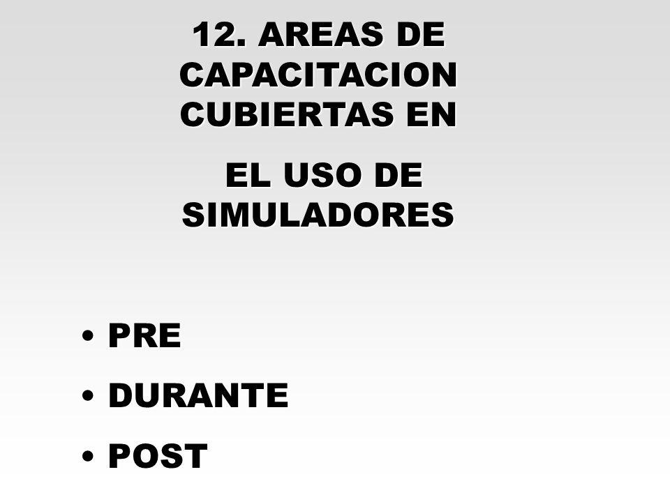 12. AREAS DE CAPACITACION CUBIERTAS EN EL USO DE SIMULADORES EL USO DE SIMULADORES PRE PRE DURANTE DURANTE POST POST