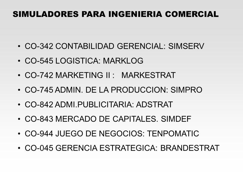 SIMULADORES PARA INGENIERIA COMERCIAL CO-342 CONTABILIDAD GERENCIAL: SIMSERV CO-545 LOGISTICA: MARKLOG CO-742 MARKETING II : MARKESTRAT CO-745 ADMIN.