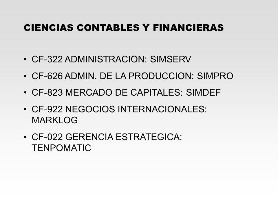 CIENCIAS CONTABLES Y FINANCIERAS CF-322 ADMINISTRACION: SIMSERV CF-626 ADMIN. DE LA PRODUCCION: SIMPRO CF-823 MERCADO DE CAPITALES: SIMDEF CF-922 NEGO