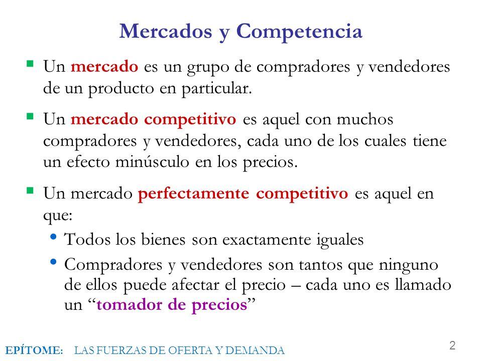 2 Mercados y Competencia Un mercado es un grupo de compradores y vendedores de un producto en particular.
