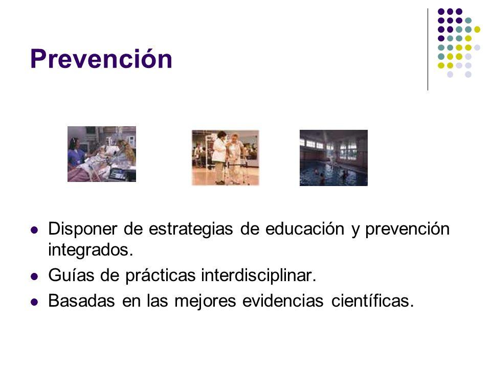 Prevención Disponer de estrategias de educación y prevención integrados. Guías de prácticas interdisciplinar. Basadas en las mejores evidencias cientí