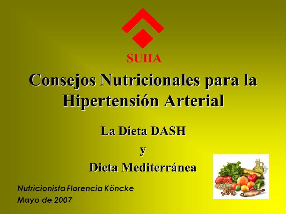 Nutricionista Florencia Köncke - SUHA 2007 Conclusiones: Los patrones alimentarios de la dieta DASH y Mediteránea Son compatibles con una alimentación saludable.